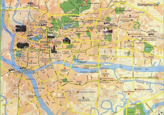Mapa turistico de Guangzhou - China