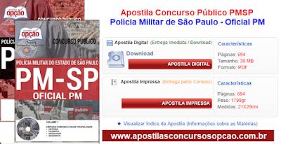 Apostilas para o Concurso PM-SP Curso de oficiais da Polícia Militar de São Paulo.