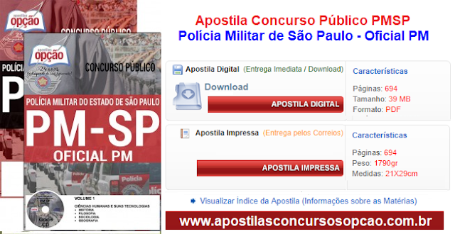Apostila Concurso Público Polícia Militar SP - Oficial PM da PMSP 2017