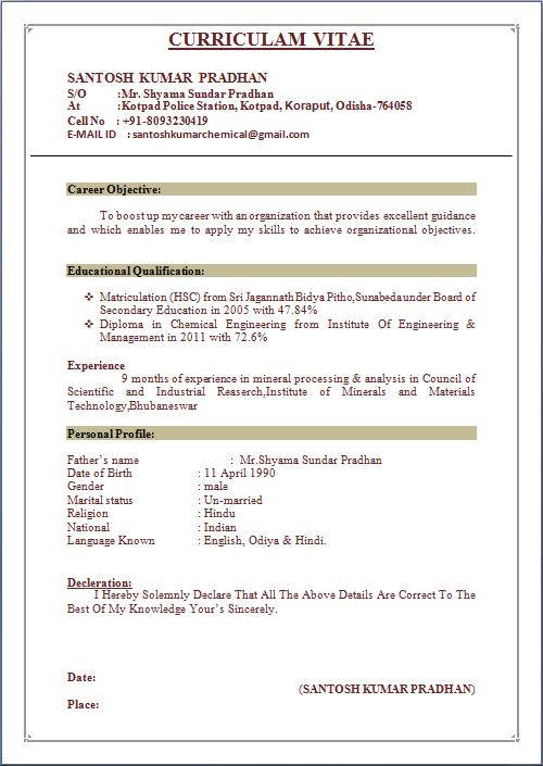 Sample Resume For Chemical Engineering Student