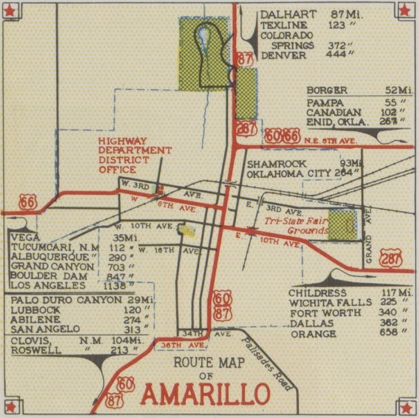 History of Amarillo, Texas: 1939 & 1941 Route Maps of ... on map of lackland air force base tx, map of ardmore tx, map of miami tx, map of wink tx, map of smyer tx, map of detroit tx, map of george west tx, map of n richland hills tx, map of memphis tx, map of garza county tx, map of midland tx, map of winkler county tx, map of young county tx, map of guthrie tx, map of webb county tx, map of texoma tx, map texas tx, map of riverside tx, map of gladewater tx, map of ector county tx,