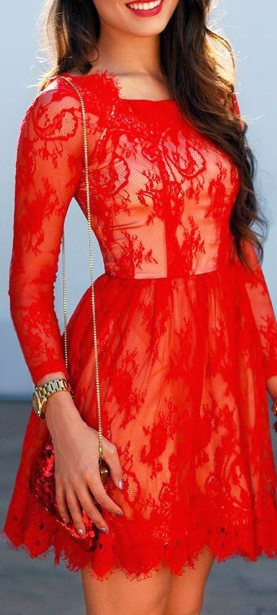 Women's Fashion Red lace.