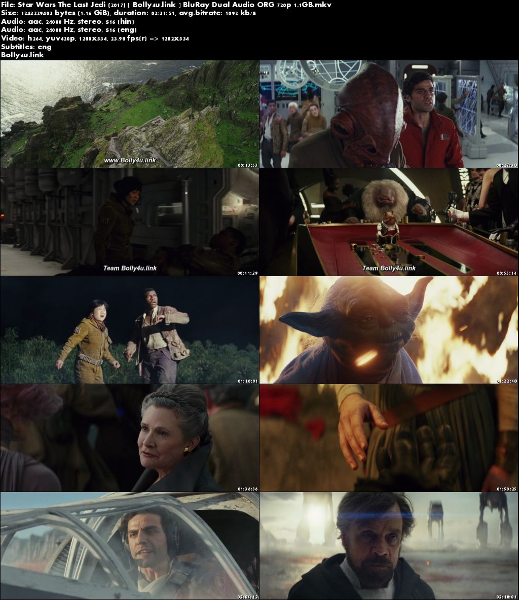 Star Wars The Last Jedi 2017 BluRay Hindi Dual Audio ORG 720p Download