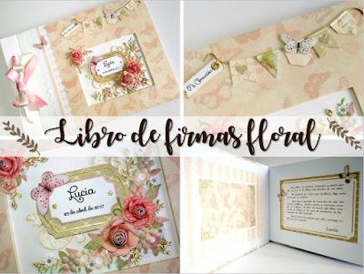 Libro de firmas para comunion floral