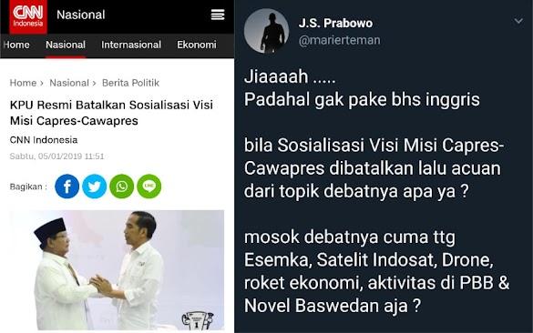 KPU Batalkan Sosialisasi Visi Misi Capres-Cawapres, Komentar Suryo Prabowo Makjleb Banget