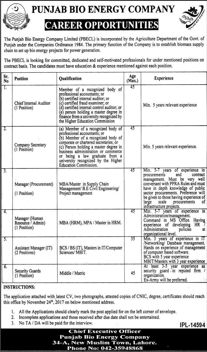 Punjab Bio Energy Company Jobs in Lahore November 2017