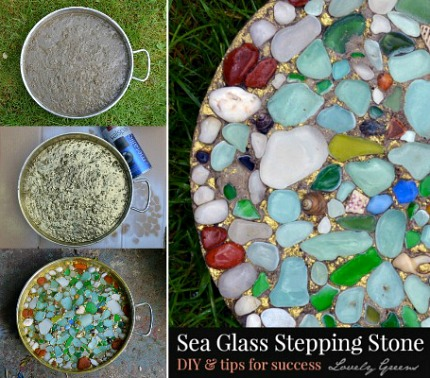 How to make garden stepping stones with shells seaglass pebbles sea glass stepping stone pronofoot35fo Images