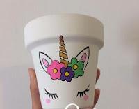 Macetas pintadas - unicornio