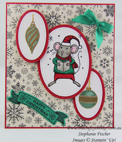 Stampin Up, #thecraftythinker, #crazycraftersbloghop, Stitched Shapes, Christmas Card, Xmas, Merry Mice, Forever Evergreen, Stampin Up Australia Demonstrator, Stephanie Fischer, Sydney NSW