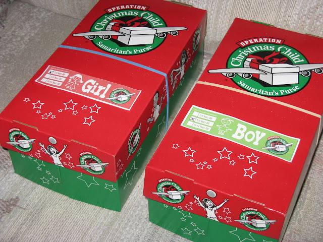 Operation Christmas Child shoeboxes packed and ready to go