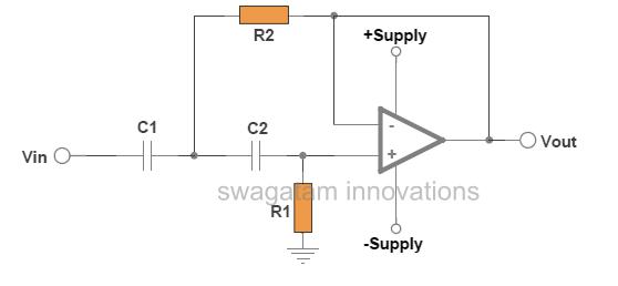 high pass filter circuit using dual supply