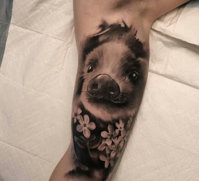 cute pig tattoo