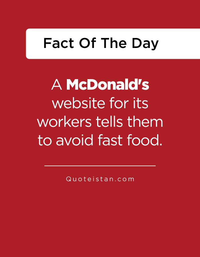 A McDonald's website for its workers tells them to avoid fast food.