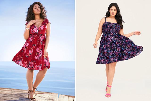 Девушки плюс сайз в платьях с цветочным принтом с высоким и низким контрастом разной плотности
