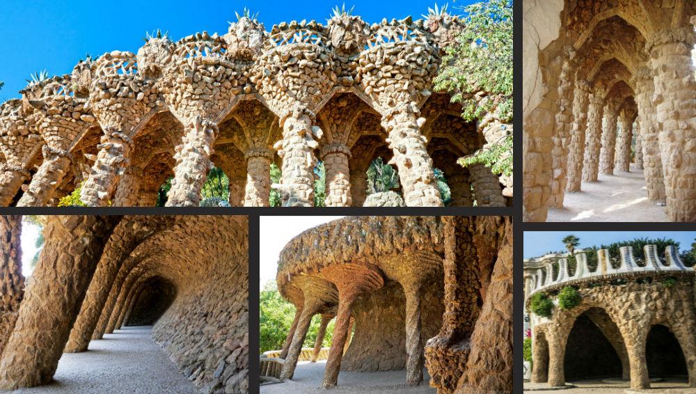 Viaductos y cueva del Park Güell de Gaudí