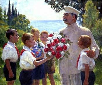 Ritratto di Stalin che riceve dei fiori da giovani comunisti.
