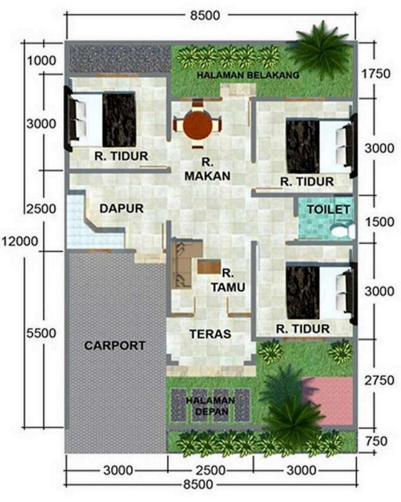 Minimalist House Design Size 8 X 15 Meters
