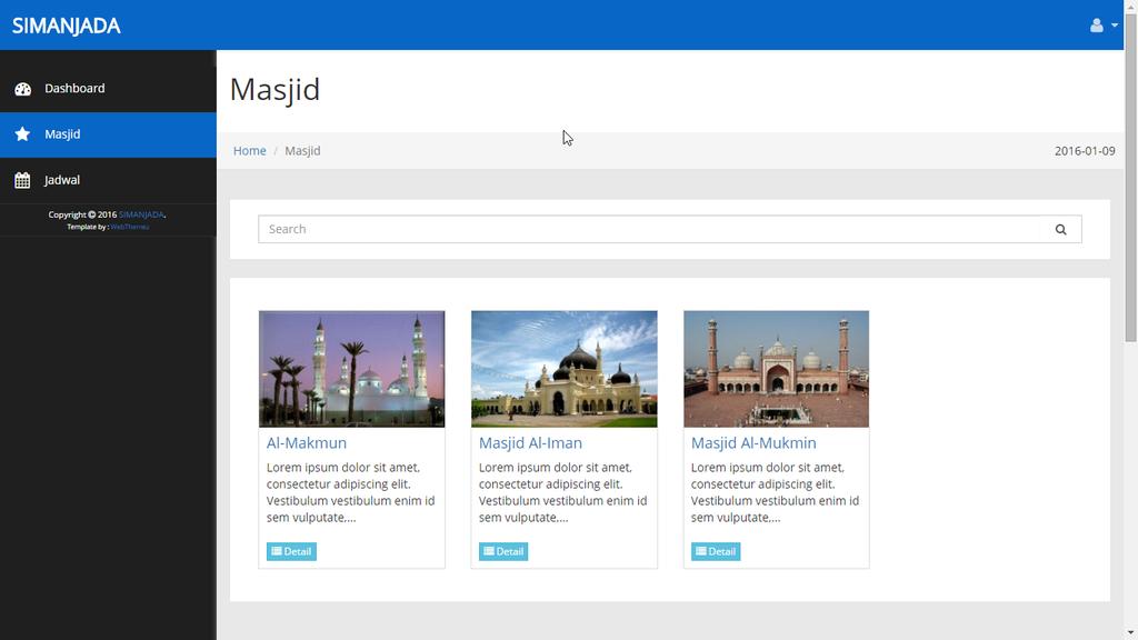 Tampilan daftar seluruh Masjid - SIMANJADA - romadhon-byar dot com