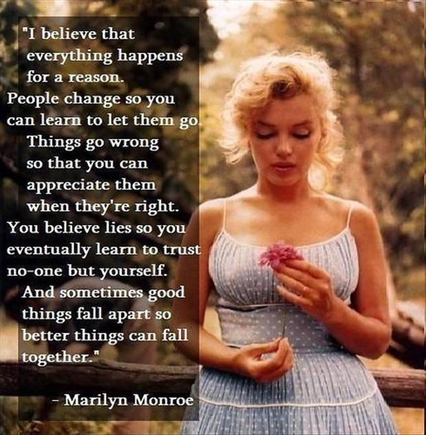 Marilyn Monroe Quotes Better Things Can Fall Together: Love, Inspirational Quotes: Inspirational