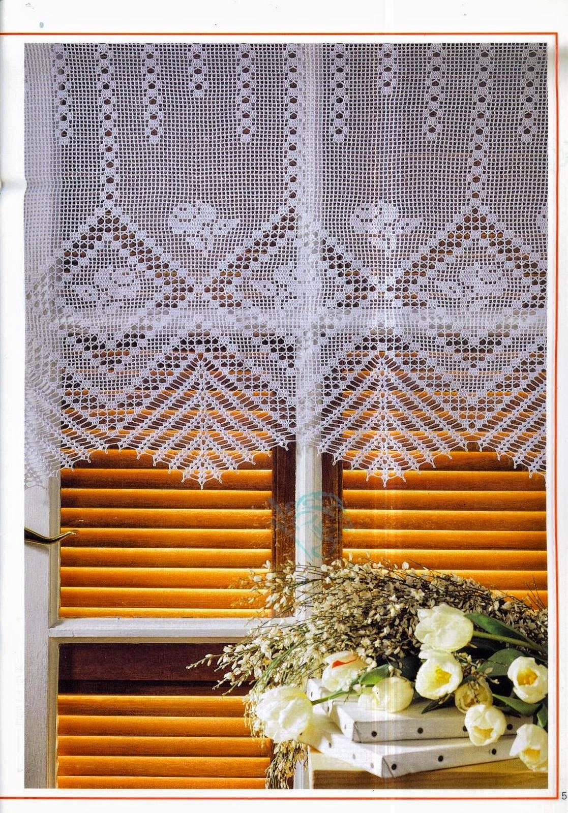 Delicadezas en crochet gabriela 10 moldes de cortinas en - Apliques para cortinas ...