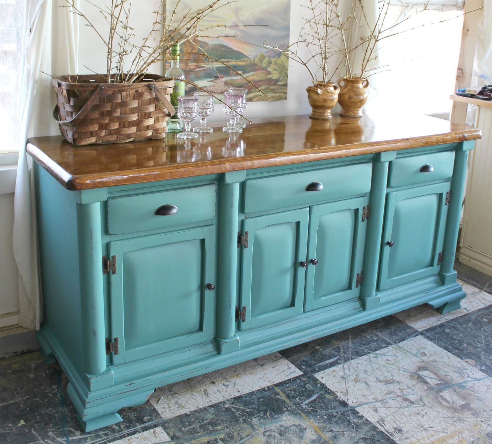 Heir and Space: A Pine Sideboard in Blue