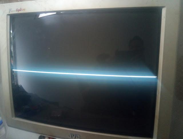 Layar TV hanya menampilkan gambar 1 garis horisontal