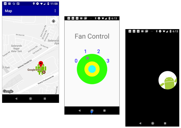 Screenshots for apps that display a customized map marker, a customized fan controller view, and an Android hiding in the dark