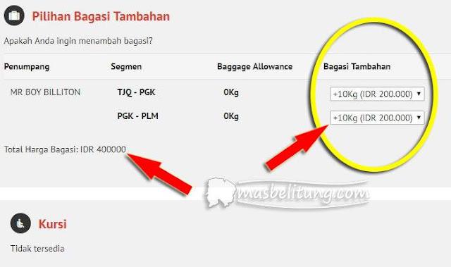 tarif bagasi terdaftar transit (dihitung penerbangan terpisah)
