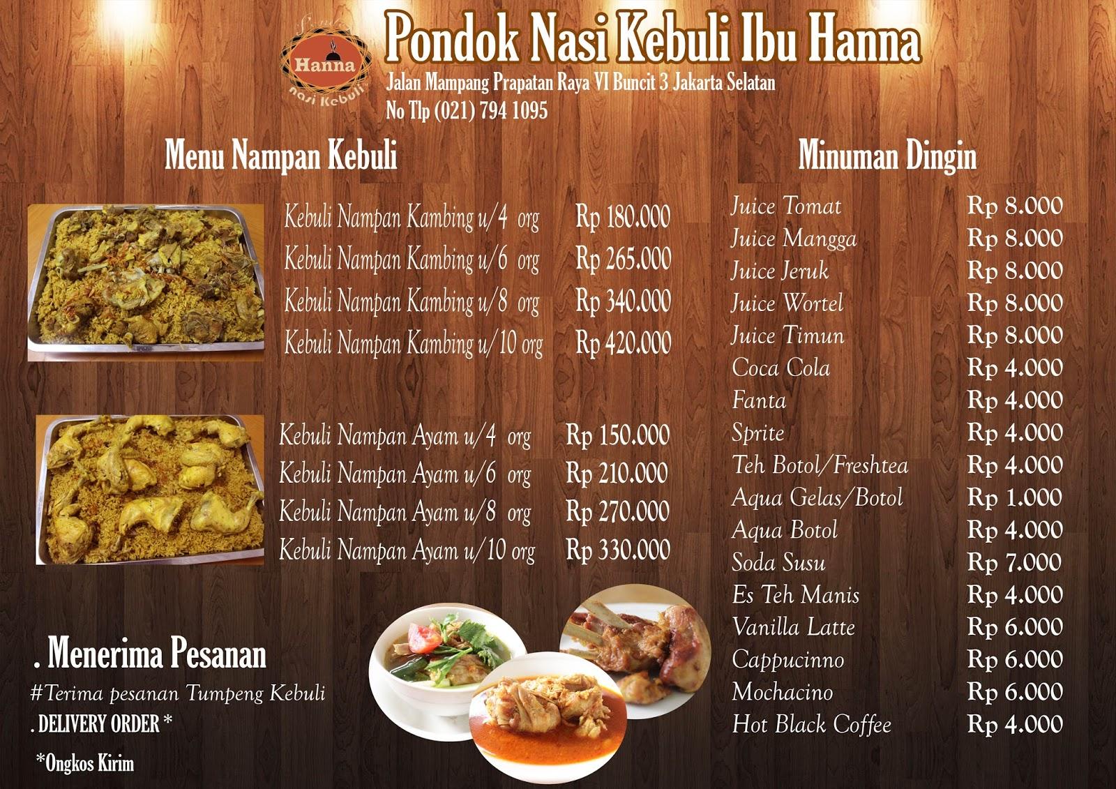 PRICE LIST KEBULI HANNA MAMPANG   Middle East Restaurant