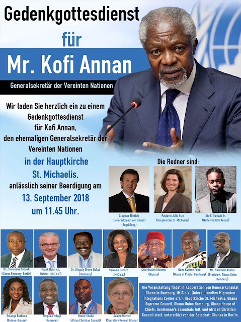 Kofi Annan Memorial Service In Hamburg - Germany