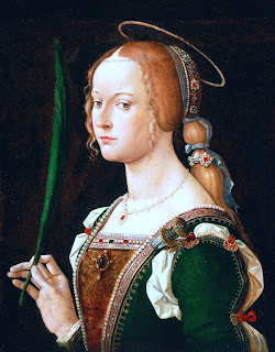 Giustina, in a painting here by Bartolomeo  Montagna, hailed from a noble family