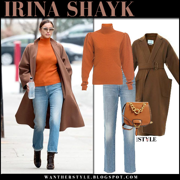 Irian Shay in brown coat max mara saio, orange sweater and jeans frame denim street fashion march 2018