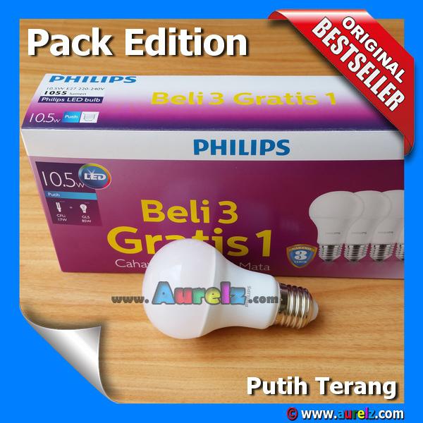 lampu led philips 10.5 watt cool daylight / putih terang beli 3 gratis 1 edisi unicef pack edition