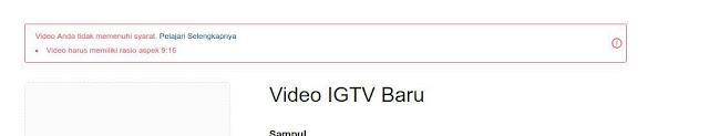 validasi resolusi IGTV