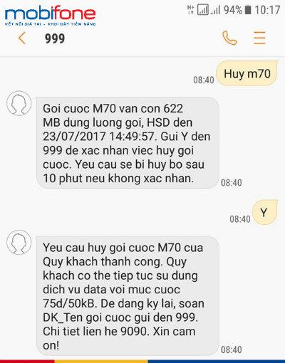 Cách hủy gói 3G Mobifone