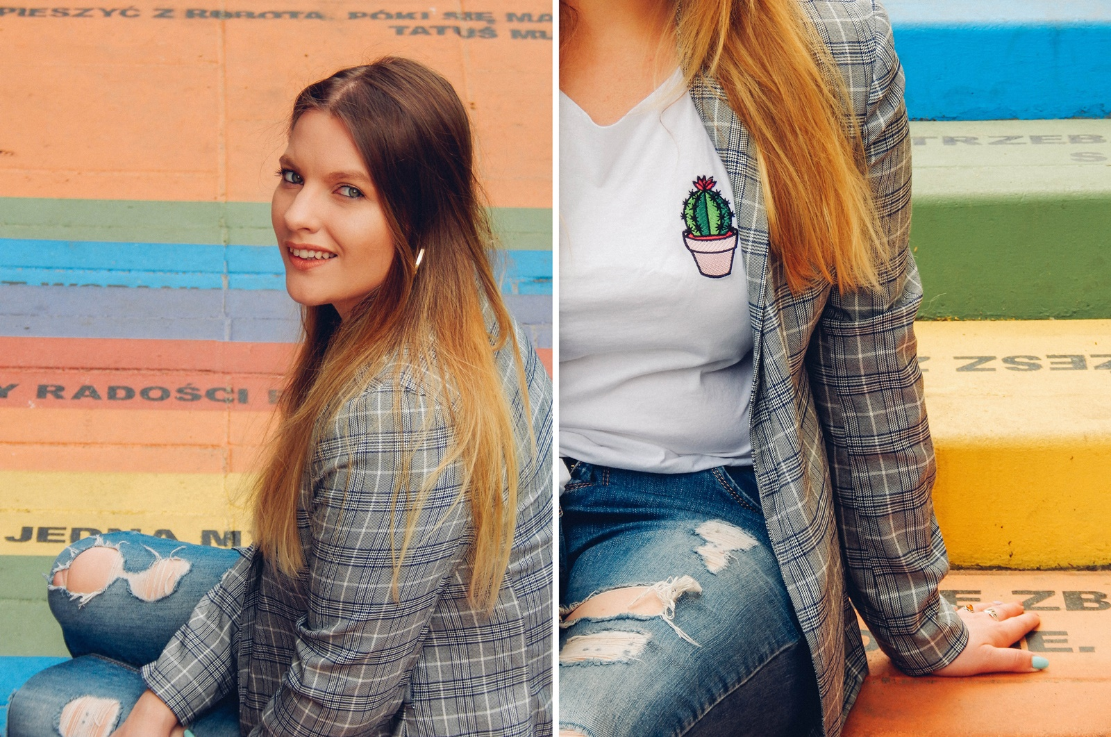 6a nakd zniżka outfit moda blog modowy jak nosić marynarkę w kratkę tshirt z kaktusem jak nosić podarte jeansy vansy moda streetwear style fashion outfit blog lifestyle łódź