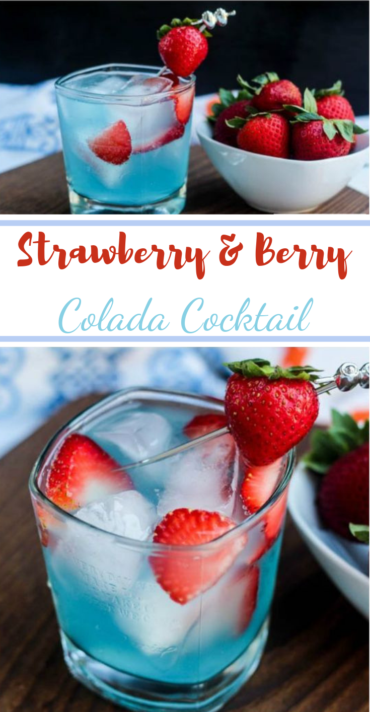 Strawberry & Berry Colada Cocktail #drinks #cocktail