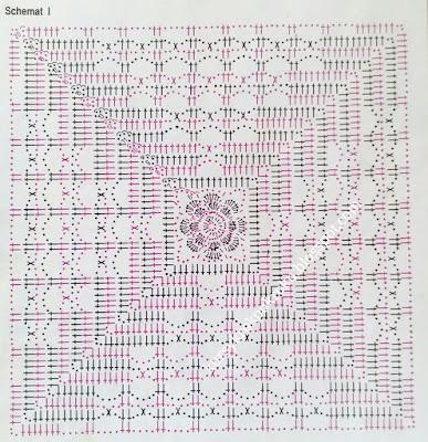 Śliczny wzór na narzutę - schemat, szydełkowe DIY