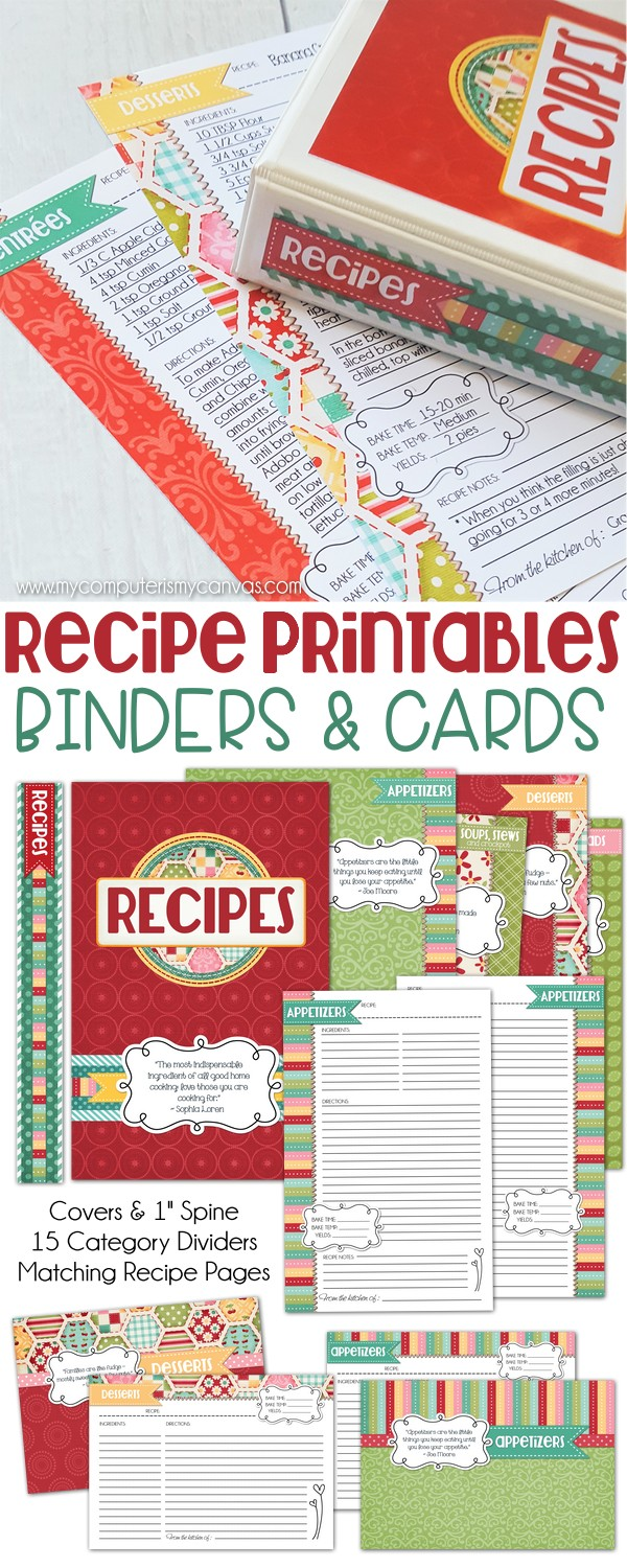 recipe binder printables  u0026 cards   red edition