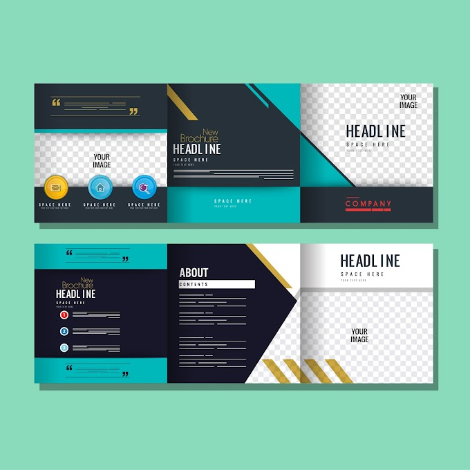 Corporate brochure templates elegant modern colorful flat checkered Free vector