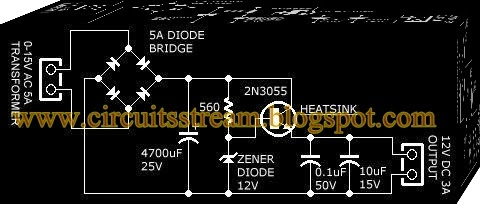 Simple 12V Power Supply  Circuit Diagram