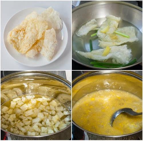 粟米魚肚羹製作圖 Corn and Fish Maw Soup Procedures