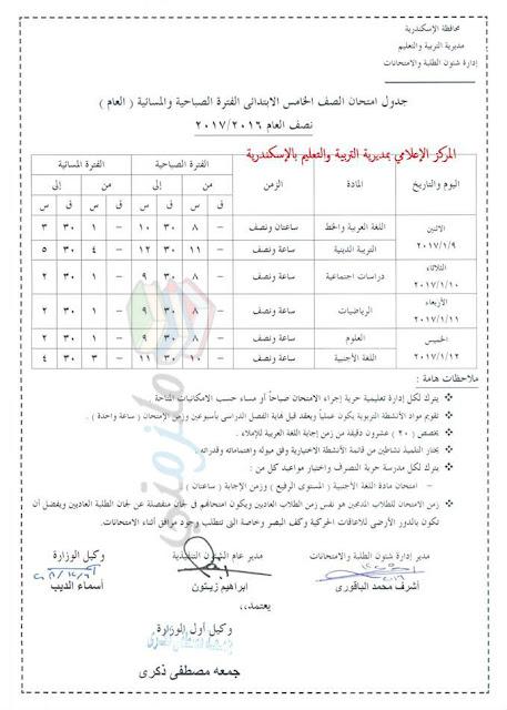جدول امتحانات الصف الخامس الابتدائي 2017 الترم الأول محافظة الاسكندرية