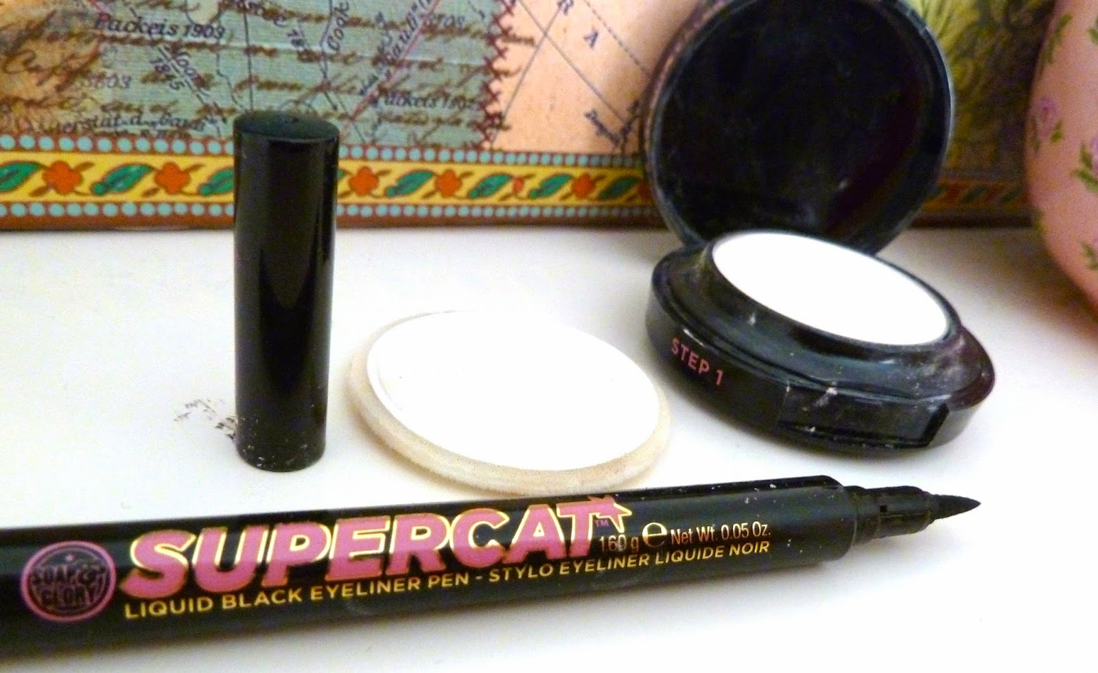 Soap & Glory Kickass Concealer and Supercat Eyeliner Product with lids off