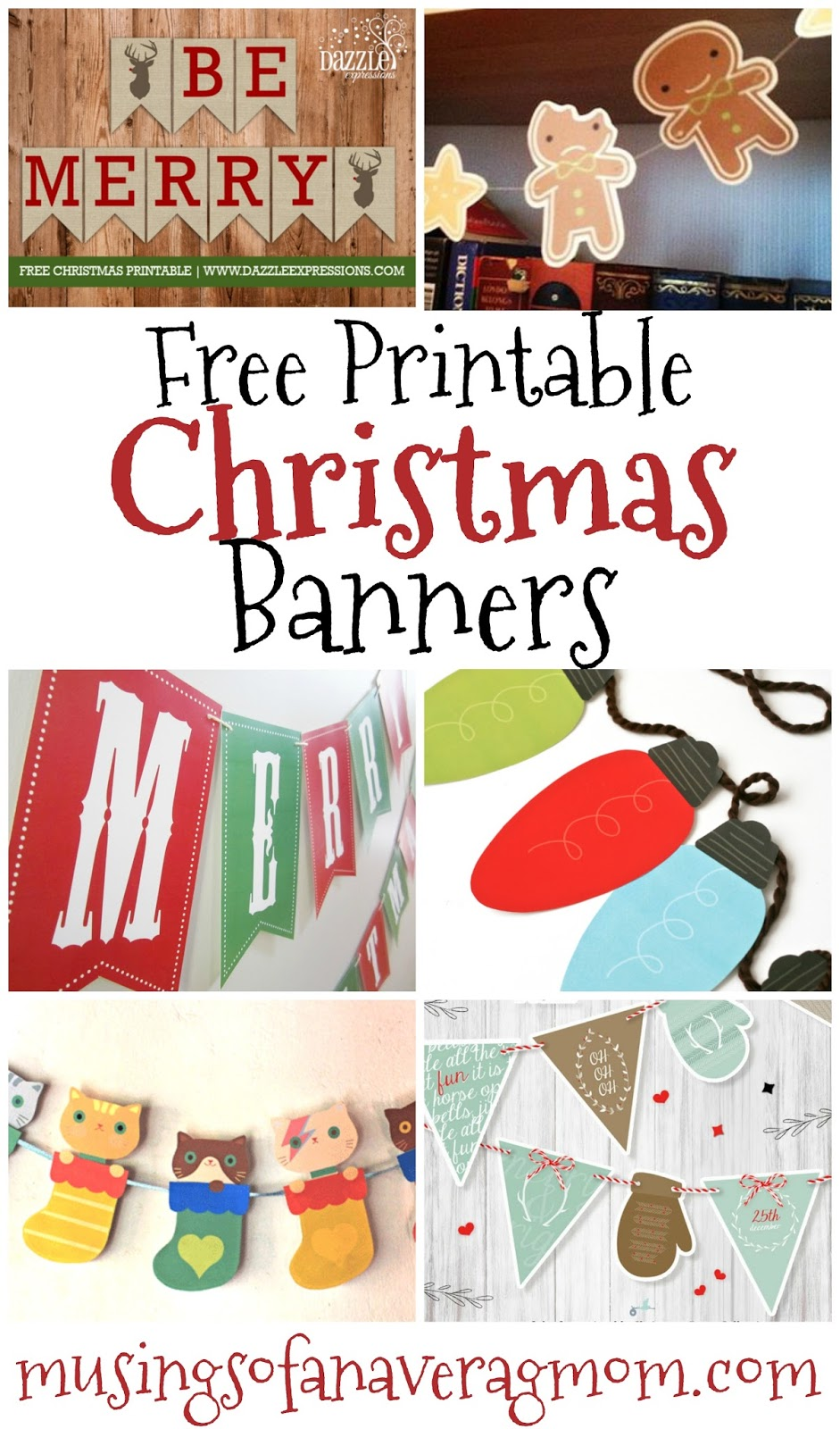 picture about Printable Merry Christmas Banner referred to as Musings of an Common Mother: Totally free printable Xmas banners
