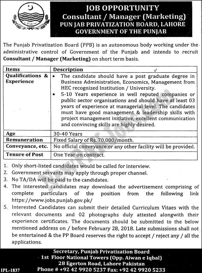 The Punjab Privatization Board PPB, Latest Jobs Today Sunday 2018