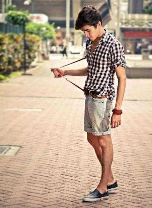 como usar camisa xadrez com bermuda masculina no verão