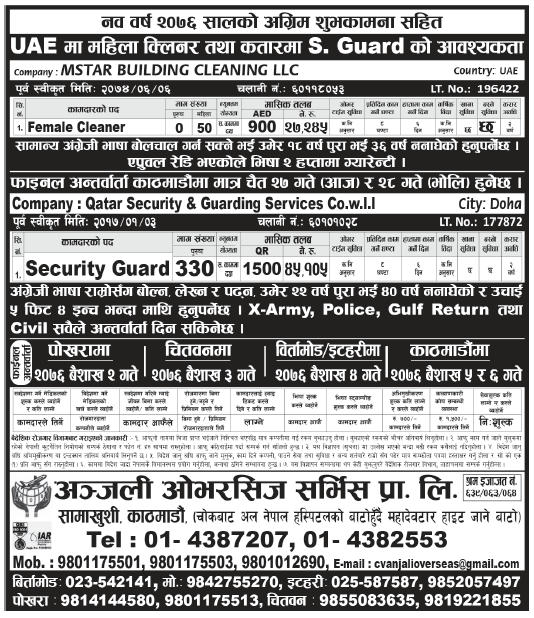 Jobs in UAE for Nepali, Salary Rs 45,105