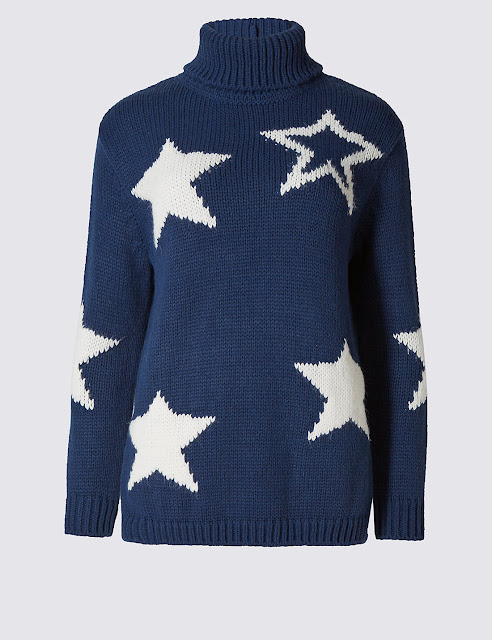 marks and spencer chunky star crew neck jumper