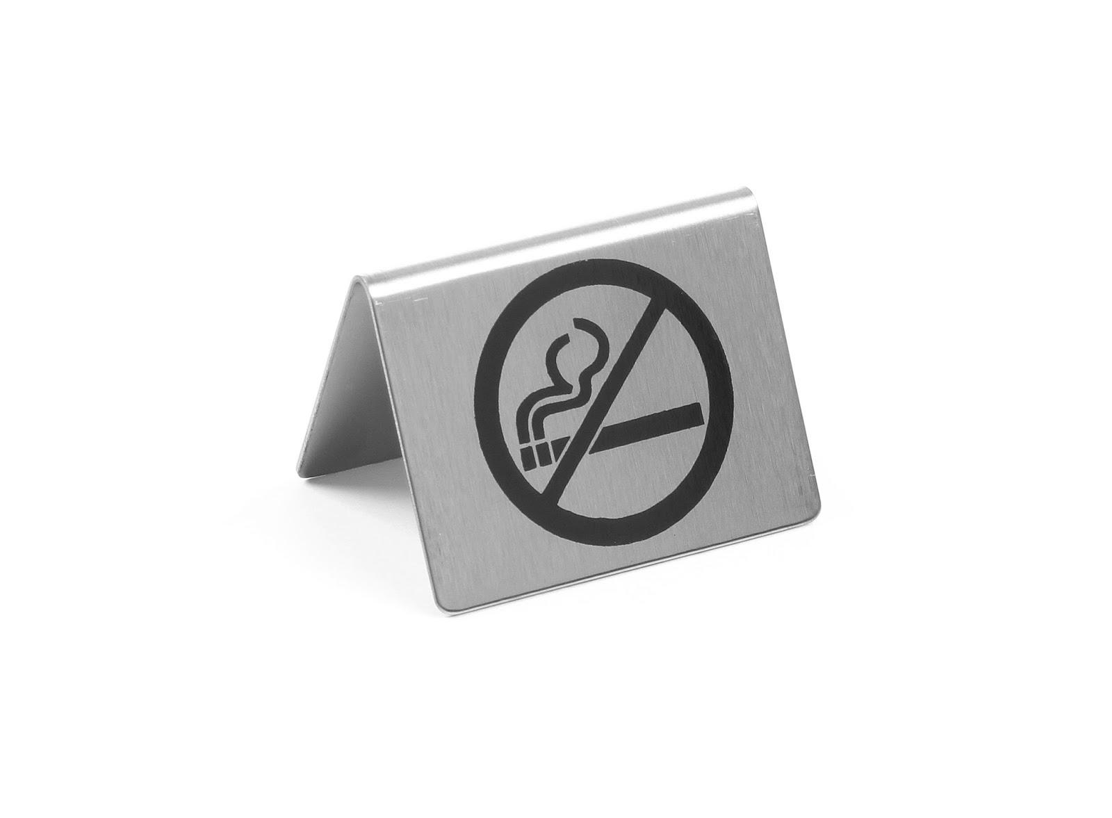 Semn de masa cu simbolul 'Fumatul Interzis', vizibil pe ambele parti, din otel cromat set de 3 bucati - 52x(H)40 mm